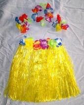 KIDS SIZE HAWAIIAN HULA YELLOW SKIRT PARTY SET new childrens luau bracel... - $6.64