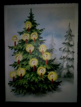 Pretty Tree Lights Ornaments Vintage Christmas Card - $6.50