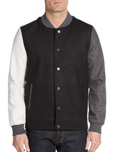 New Mens American Stitch Black Two Tone Wool Blend Varsity Jacket Xl $170 - $44.99