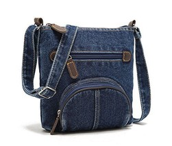 Vintage Denim Cross-body Bag for Women with Pockets
