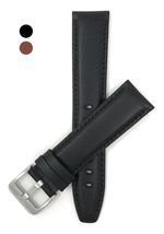 20mm, Sports, Black Genuine Italian Leather Watch Band Strap, Tone-on-To... - $51.34