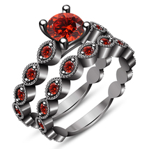 14k Black Gold Plated 925 Silver Round Cut Red Garnet Bridal Engagement ... - $116.28