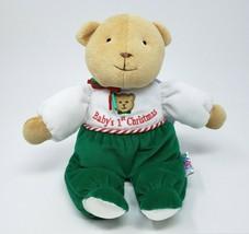 VINTAGE EDEN BABY'S FIRST 1ST CHRISTMAS TEDDY BEAR STUFFED ANIMAL PLUSH ... - $73.87