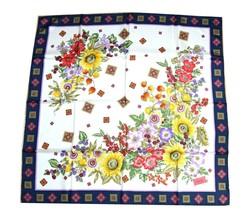 """Gucci Vintage Scarf Floral 87 cm Silk White Flower 34"""" inch shawl YA5229 - $147.51"""