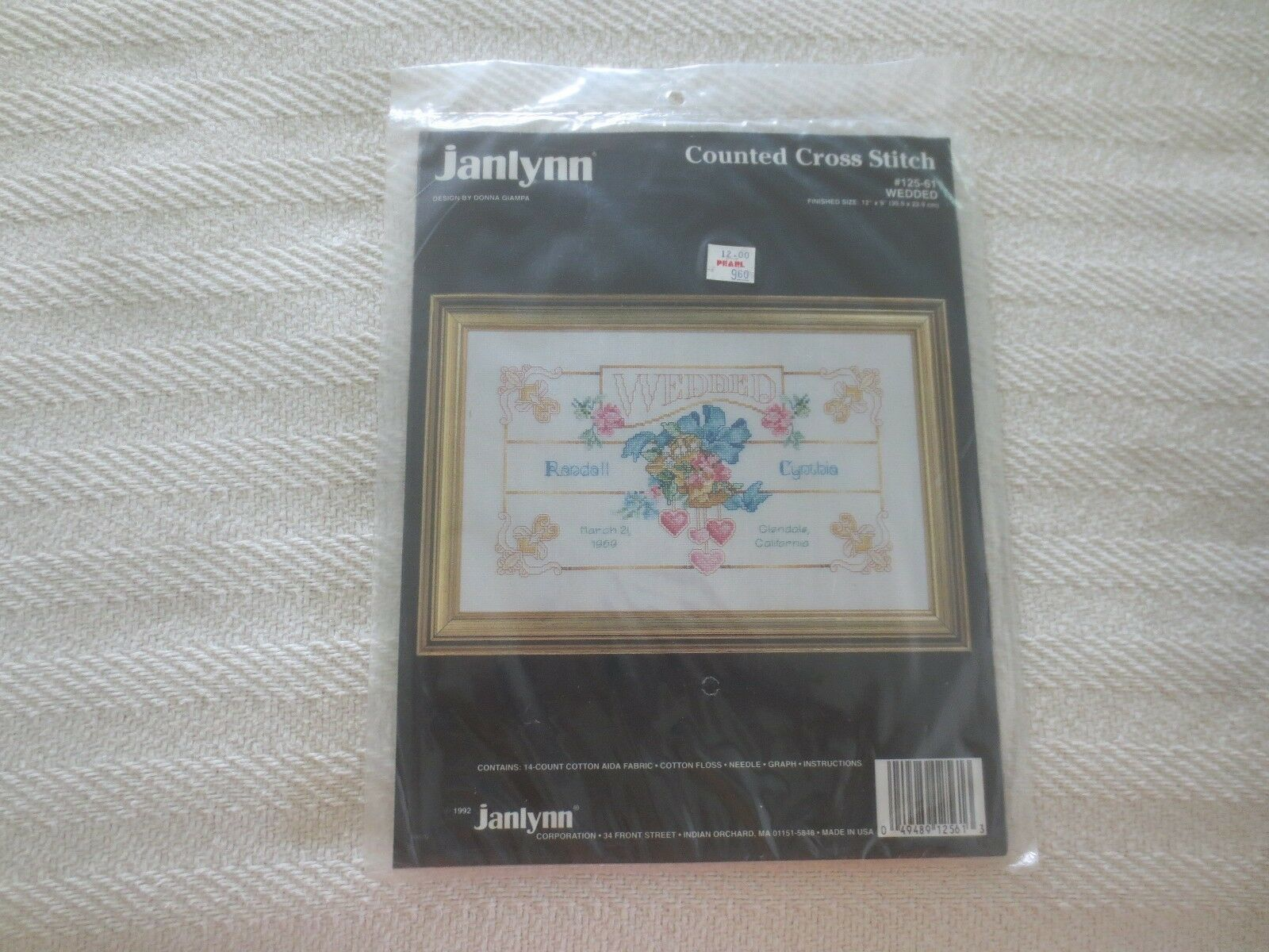 "Primary image for 1992 Janlynn WEDDED Counted Cross Stitch SEALED Kit #125-61 - 12"" x 9"""