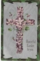 Easter Postcard 1908 Cross of Violets Embossed Silver Gilt Paul Finkenrath - $7.43