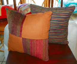 Pair of Orange Burgundy Stria Patchwork Print Throw Pillows  18 x 18 - $49.95