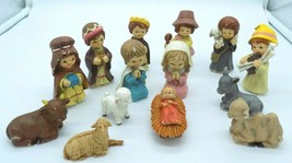 Vintage Enesco Childs Christmas Nativity Figures Molded Hard Plastic 14 Pieces - $19.79