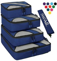 4 Set Packing Cubes,Travel Luggage Packing Organizers With Laundry Bag Navy - £43.45 GBP
