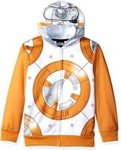 BB-8 STAR WARS Zip-Up Sweatshirt Costume Hoodie w/ Mesh Mask Boys Size 1... - $29.99