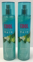 2 BOTTLES BATH & BODY WORKS COOL AMAZON RAIN DIAMOND SHIMMER MIST BODY S... - $37.99