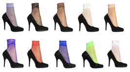 2 Pairs Womens Sexy Bright Colorful Low Cut Fishnet Ankle Socks with Lac... - £7.80 GBP