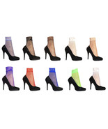 2 Pairs Womens Sexy Bright Colorful Low Cut Fishnet Ankle Socks with Lac... - $9.99
