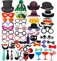 NEW Set of 58 Photo Booth Props Pictures Faces Tongues Hats Crowns Masks... - ₨768.40 INR