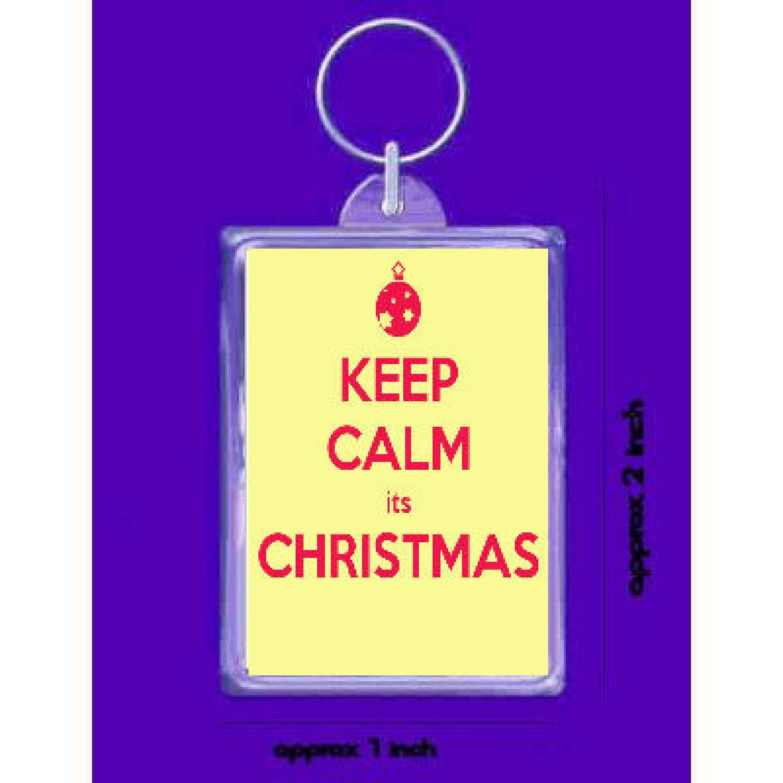 keep calm its christmas  handmade in uk from uk made parts keyring, ke