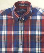 Men's Short Sleeve Casual Shirt Size XL Blue Red Checks John Ashford Cotton - $9.78