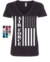 Air Force Flag Military Women's V-Neck T-Shirt Patriot Veteran Stars & S... - $16.74+