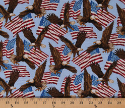 American Flags Bald Eagles USA America Patriotic Cotton Fabric Print BTY... - $11.95