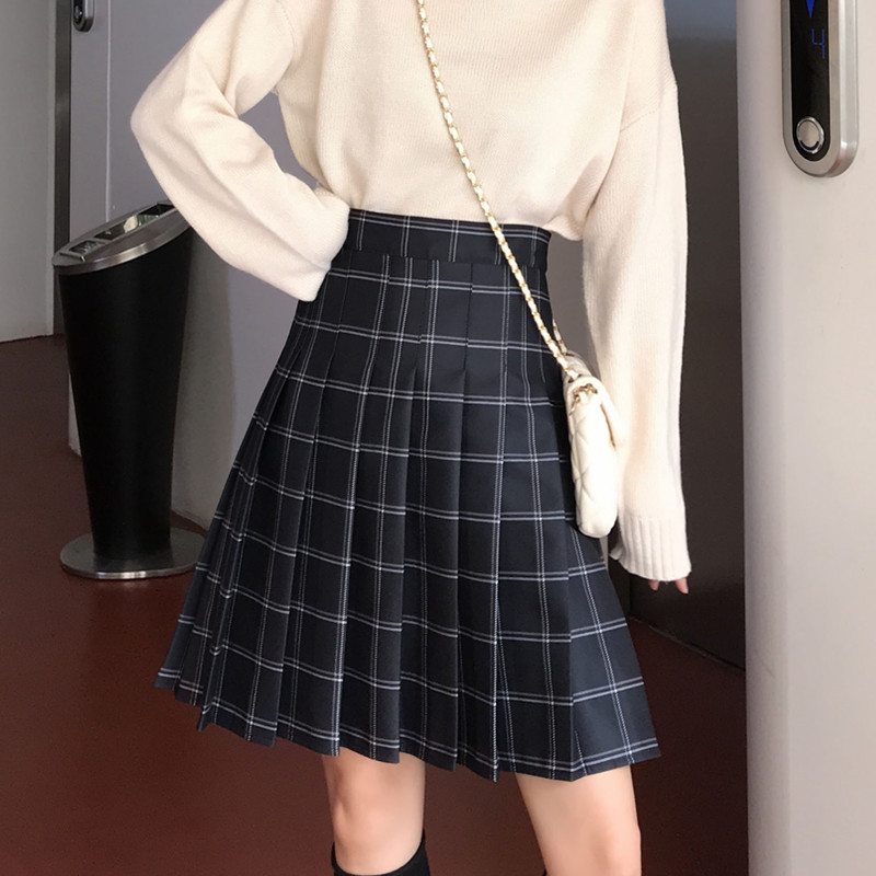Knee Length Black Plaid Skirt School Girl Plus Size Knee Pleated PLAID SKIRTS image 2
