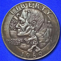 "Frankenstein Zombie ""Hobo Nickel"" on Washington Quarter Coin ** - $4.29"