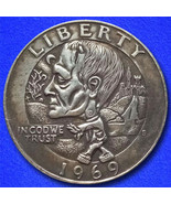 Frankenstein zombie hobo nickel on washington quarter coin obverse thumbtall