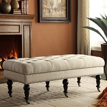 """Home Living Room Decor Chic Style Linon Isabelle Bench 50"""" Natural - €169,55 EUR"""