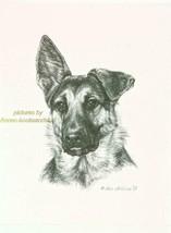 #286 GERMAN SHEPHERD PUP Lop Ear dog art print Pen & ink drawing by Jan ... - $9.95
