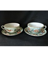 Two Vintage Hand Painted Porcelain Tea Cups and Saucers Japan - $14.84