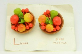Lisner Germany Multi-Colored Fruit Salad Bowl Plastic Clip Earrings New Old - $89.09