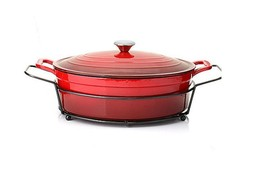 Cook's Companion Stick-Resistant Enameled Cast Iron 8 qt Covered Oval Du... - $97.72