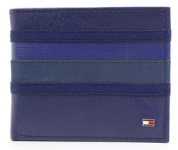 Tommy Hilfiger Men's Leather Double Billfold Wallet Cobalt Blue 31Tl130011