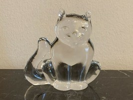 Kosta Boda Art Glass Zoo Series Crystal Cat Figurine Paperweight - $48.51