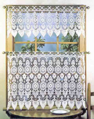 "Medallion Macrame Tier & Valance Set, 36"" Length Tier, White, Lorraine Home - $58.98"