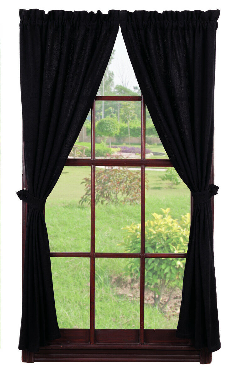 Primary image for Olivia's Heartland country primitive rustic Burlap Black Panel curtains 72x63