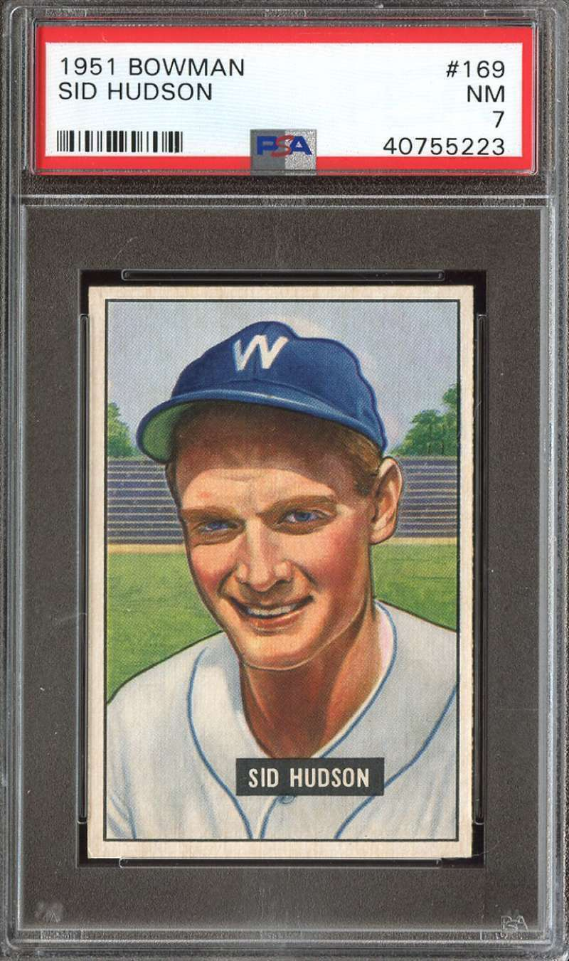 Primary image for 1951 Bowman Baseball Card #169 Sid Hudson  PSA 7 Senators NM