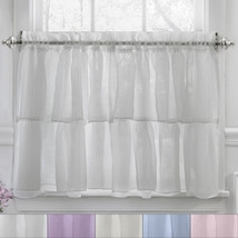 """Gypsy Crushed Voile Ruffle Kitchen Window Curtain 36"""" Tier Pair - $16.19"""