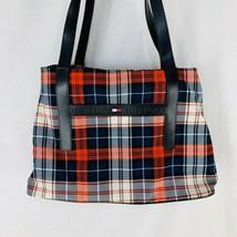 Vintage Tommy Hilfiger Red Blue Plaid Tote Shopper Bag Flag Spell Out Logo - $23.75