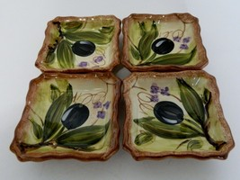 Tabletops Unlimited Olives Hand Painted Individual Dip Bowl Plate Butter... - $14.80