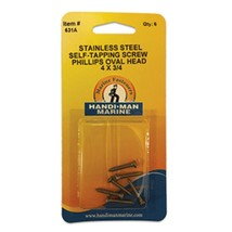 Handi-Man Phillips Self Tapping Oval Screw Stainless Steel - #4 x 3/4 - $13.97