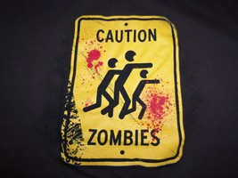 """Caution Zombies"" Crossing Xing Funny Humor Apocalyptic Graphic Print T ... - $17.76"