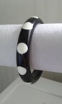 Vintage Black Acrylic Retro White Polka Dot Fashion Bangle - $30.00