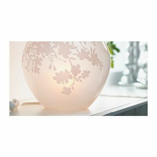 IKEA KNUBBIG Table lamp with LED bulb, cherry-blossoms white,7