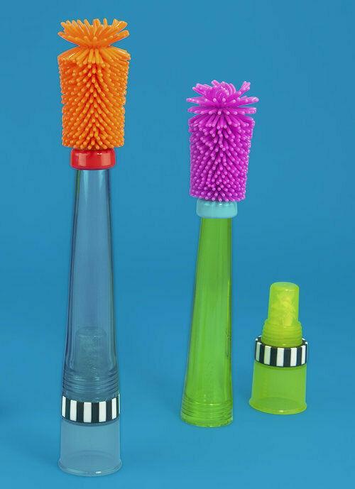 Sassy No Scratch Bottle Brush BPA Free Soft Bristles Safe Dispenses Soap New - $14.99