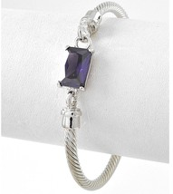 "7.5"" Womens Classic Silver Twisted Cuff Bracelet Purple Amethys Glass Ad... - $9.97"