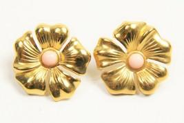 ESTATE VINTAGE Jewelry GOLD METAL FLOWER PIERCED EARRINGS  - $10.00