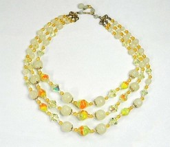 Triple Strand Lampworked Glass Beaded Miriam Haskell Style Necklace Vintage Casu - $68.95