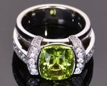 3.50ct cushion cut peridot   diamond modern engagement ring in 14k gold finish thumb155 crop