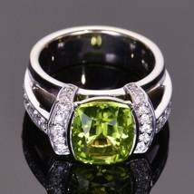 3.50ct cushion cut peridot   diamond modern engagement ring in 14k gold finish thumb200