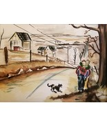 Original Vintage Watercolor Painting Piggyback Children Dog From the 40's - $95.00