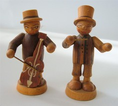 Vintage Erzgebirge Wood Natural lot 2 Musician men Figures Xmas Putz Anr... - $24.74